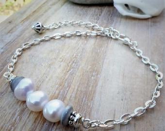 Mothers Day Gift, Freshwater Pearls Silver Bracelet, June Birthstone Bracelet, Handmade Artisan Jewellery