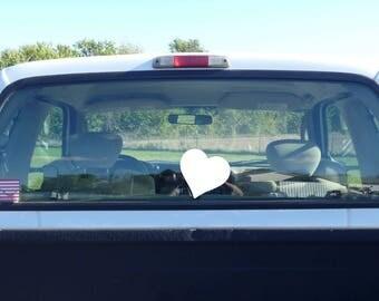 heart decal, vinyl car decal, vinyl heart sticker, white heart, heart sticker, heart car decal, heart car sticker, heart window sticker