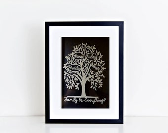 Family Tree Personalised /Framed /Handcut Paper Design / Papercut / Paper Cut Art / Home Decor / Wall Art