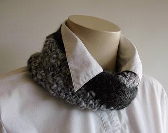 Chunky infinity scarf / charcoal grey / handspun wool / mens cowl