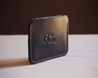 Design by George • hand stitched black leather card holder