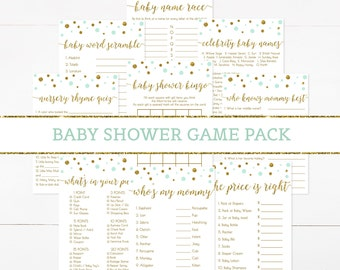 Mint Green and Gold Baby Shower Games Package, Green Mint and Gold Confetti Baby Shower Game Pack, Baby Shower Activity, Printable DIY - CG4
