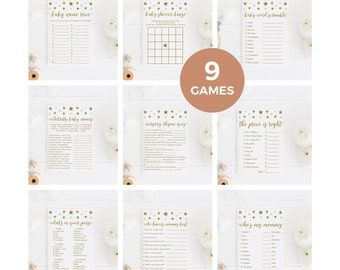 Mint and Gold Baby Shower Games Package, Green Mint Baby Shower Game, Baby Shower Bingo, Price is Right, Printable, Instant Download - SG5