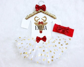 Reindeer Baby Girl Christmas Outfit with Name. Deer Head Christmas Outfit. Toddler Christmas Outfit. Christmas Tutu. Christmas Headband.