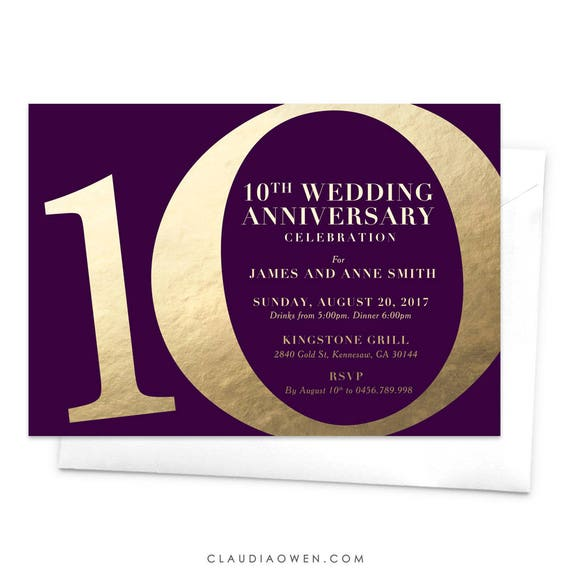 10 Year Wedding Anniversary Invitations: 10th Wedding Anniversary Party Invitation / Tenth Anniversary