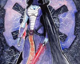 Asajj Ventress watercolor original painting