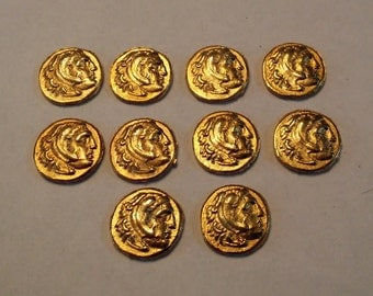 Ancient Coin Copies Goldtone 10 Total