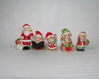 Vintage Homco Christmas Figurines, set of 5