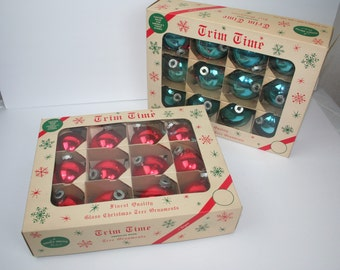 """Lot 0f (24) Shiny Bright Vintage Glass Christmas Ornaments, 3"""", Red,  Turquoise Blue"""