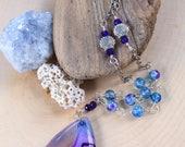 30% OFF- Mermaid Soul Necklace - OOAK- Mermaid Jewelry - Mermaid Goddess - Mermaid Colors - Statement Necklace - Blue & Purple - Ocean Love