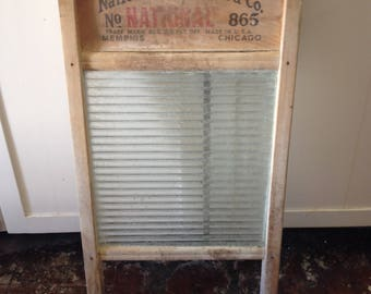 Antique Ribbed Glass Washboard, National Washboard Co. No.865, Laundry Decor, Farmhouse Decor