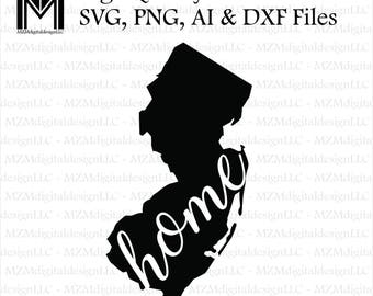 New Jersey svg, png, ai and dxf Files -For Commercial & Personal Use- SVG for Cricut Silhouette and Cameo - Vinyl file - NJ Shore Home State