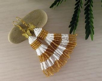 Butterfly tassel earring Seed bead earring Bead tassel earring White tassel earring Golden fringe earring Stripped jewelry Beaded jewelry