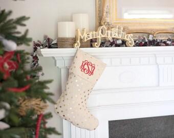 gold dot monogrammed christmas stockings family stockings custom christmas stocking stocking - Monogrammed Christmas Stockings