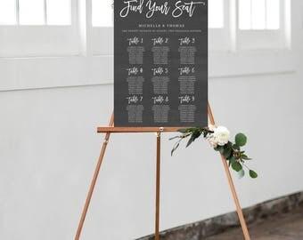 Wedding Seating Chart Template, Chalkboard Seating Chart, Rustic Wedding Seat Assignment, Wedding Seating Chart, Personalized Seating Chart