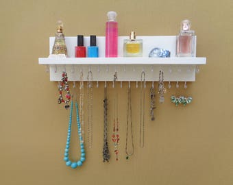 Jewelry Organizer - Necklace Holder - Jewelry rack - 35 Hooks - Shelf - Ready To Hang.