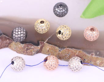 10mm Fashion Micro Pave Clear Cubic Zirconia CZ Charm Round Ball Bead Spacer Beads 10Pcs