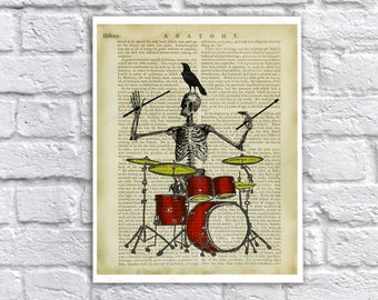 Drummer Halloween Decor Human Skeleton playing drums with Raven on his head Vintage Anatomy Textbook Page - Novelty Gift for drummer