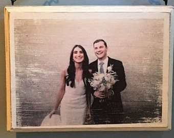 Custom Rustic Photo on Wood, Customize by sending me your Photos. Handcrafted Distressed Wood Picture Frame.