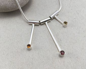 Garnet and Citrine Silver Necklace, Modern Silver Pendant with Garnet, Hessonite & Citrine, Silver and Garnet Necklace  January Birthstone
