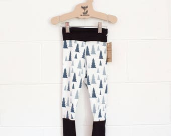 Certified Organic Cotton Adjustable Leggings - Blue Trees with Black Trim / Toddler Child Roll Leg and Waist