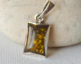 Green Amber Sterling Silver Pendant, Rectangular Amber Pendant, Green-Yellow Geometrical Baltic Amber Jewelry, Retro Pendant, Modern Jewelry