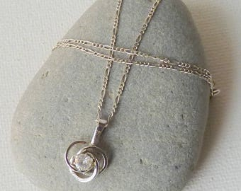 Sterling Silver Necklace with Cubic Zircon Pendant, Vintage CZ  Pendant  and Chain Necklace, 925 Silver, Small Pendant, Minimalist Jewelry