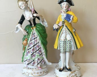 "Hand Painted Porcelain Colonial Victorian Woman & Man Figures/Figurines Made in Japan, Vintage 1950's-60's, Meissen Style, Large 9.5"" tall"