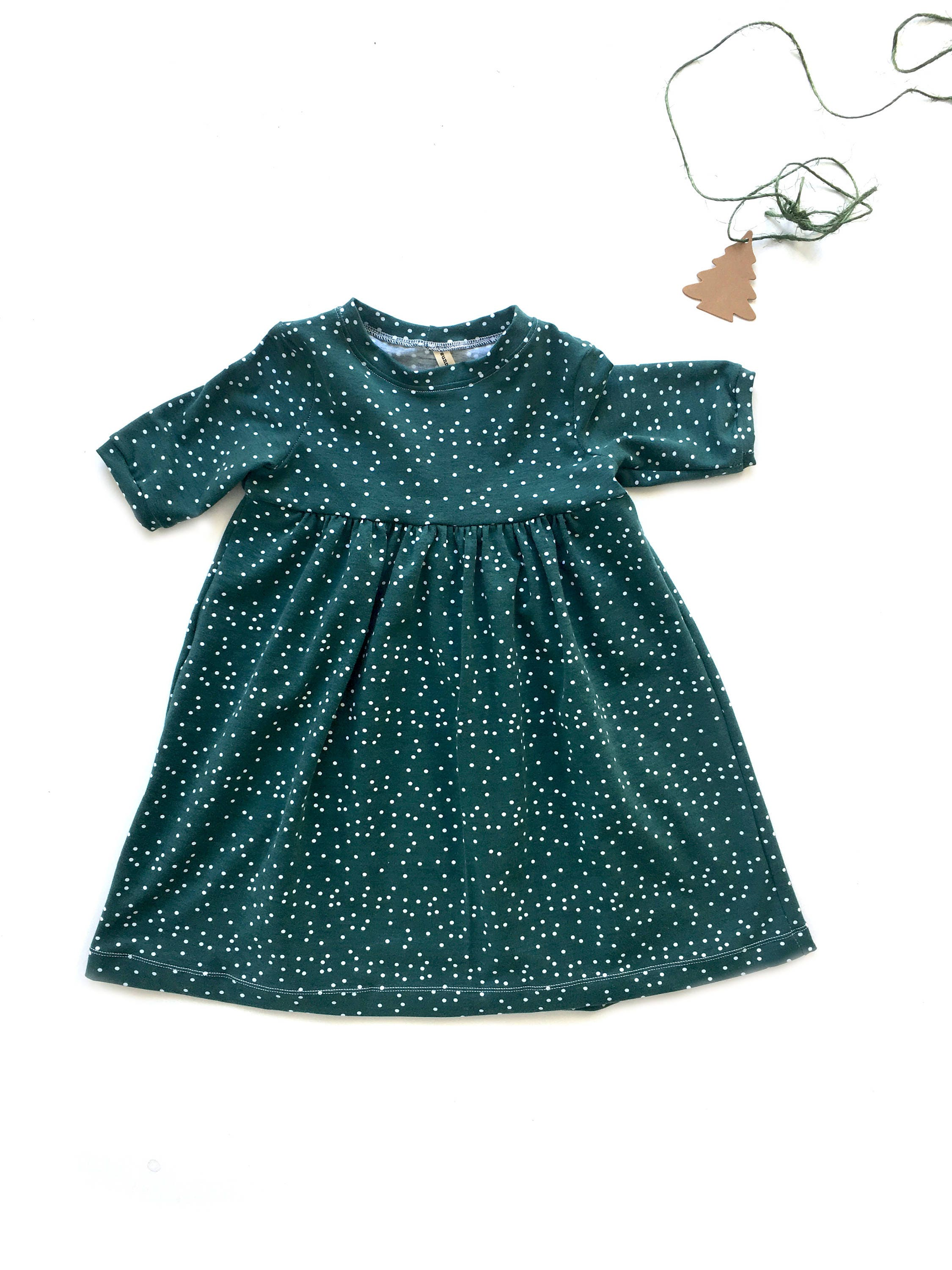 Organic baby dress christmas dress dress toddler dress green