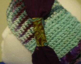 hand crocheted cotton head scarf