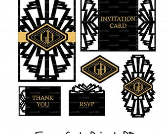 Wedding invitations Card Great Gatsby Art Deco Nouveau laser cut template font (svg, dxf, ai, eps) Silhouette Cameo Cricut Instant Download