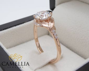 Diamond Halo Engagement Ring Unique Leaf Nature Ring 14K Rose Gold Engagement Rings Conflict Free Diamond Wedding Ring