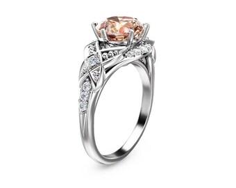 14K White Gold Morganite Ring Unique Morganite Engagement Ring White Gold Anniversary Ring