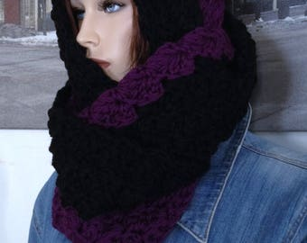 Handmade Cowl Infinity Scarf for Winter Darkest Purple Black Thick & Warm Scrunchable Cowl Scarf, Reversible Colors Head Cover Ready to Ship