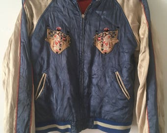 Sukajan Japanese Embroidered Baseball Jacket Reversible