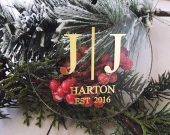 Acrylic Our First Christmas Ornament - Personalized Gold Ornament,Newlywed Gift,stocking stuffer,Holiday Wedding,Mr. & Mrs,Gift for neighbor