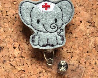 Badge Reels | Elephant Nurse Id Card Holder | Retractable Felt Badge Holder | Lanyard | Badge Pull | Gifts for Hospital Staff | 1333