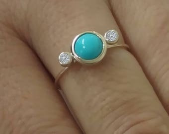 Tousi Jewelers Diamond and Turquoise Ring - Solid 14k Yellow Gold Stackable Jewelry for Everyday – December & April Birthstone Rings