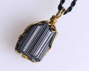 Raw Black Tourmaline Pendant,Healing Crystal Pendant ,Black Tourmaline pendants ,Black Tourmaline necklace healing + Free Jewel Case J810
