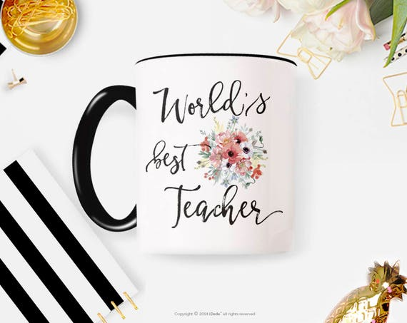 Best Teacher Ever, Teacher Mug, Personalized Teacher Gift Teacher Christmas Gifts Gifts for Teachers, Personalized Coffee Cup 62G