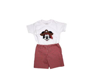 Boys short shirt outfit, Pirate  Mickey shirt, birthday outfit boys shorts  boys clothing boys birthday outfit