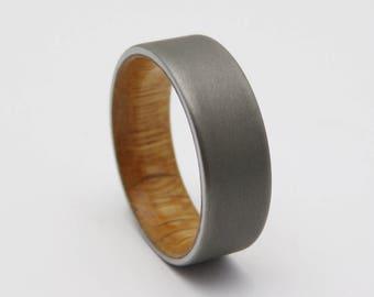 Wood wedding band with reclaimed barn wood  sandblasted titanium wedding ring  upcycled wedding ring reclaimed wood wedding ring
