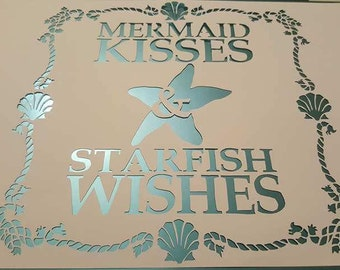 Mermaid kisses & Starfish wishes papercutting template|nursery, birthday, gift for her| Commercial Licence|Instant download