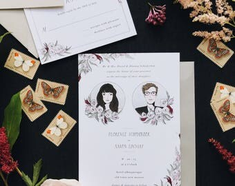 Moody Illustrated Wedding Invitation Suite with Portraits | Custom Hand Drawn Stationery Suite for Weddings & Special Events