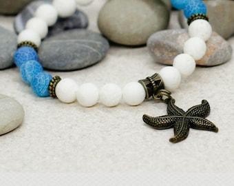 White coral bracelet Blue bracelet Starfish bracelet Beach bracelet Sea jewelry Mermaid jewelry Charm bracelet Gift for girlfriend gift wife