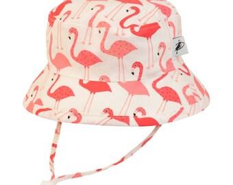 Child's Sun Protection Camp Hat - Cotton Print in Flamingo (6 month, xxs, xs, s, m, l)