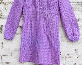 Vintage Purple floral daisy lace embroidered mod go go 60s mini dress S
