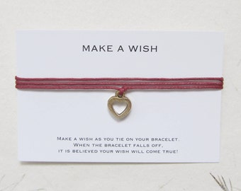 Wish bracelet, love bracelet, make a wish bracelet, heart bracelet, W17