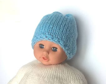 Beanie baby boy 0/3 months - hand knitted baby blue wool