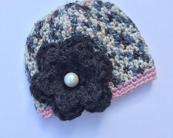 Pearl Flower Hat, Ready to Ship, Crochet Flower Hat, Flower Hat, Pearl Button